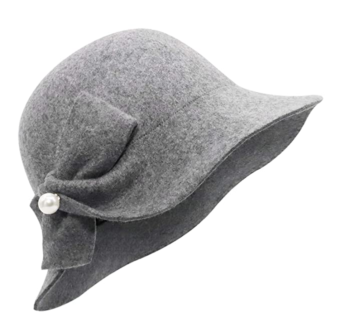 1930s Style Hats | Buy 30s Ladies Hats Bellady Women Solid Color Winter Hat 100% Wool Cloche Bucket with Bow Accent $20.99 AT vintagedancer.com