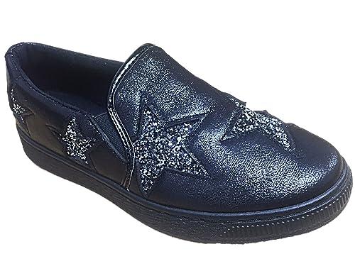 Scarpe plimsoll da donna, modello Ella glitterato, scarpe da ginnastica piatte, (Navy), 37.5