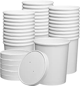 32 oz. Paper Food Containers With Vented Lids, To Go Hot Soup Bowls, Disposable Ice Cream Cups, White - 25 Sets