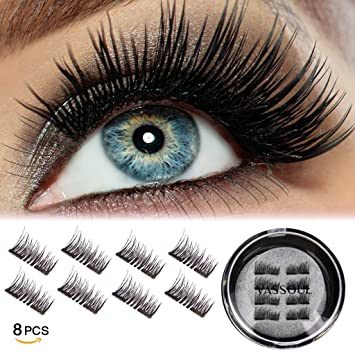 5a631442cb3 VASSOUL Dual Magnetic Eyelashes Magnet Ultra-thin 0.2mm 3D Reusable Fake  Eyelashes For Women Makeup Natural Look (8 Pcs): Amazon.co.uk: Beauty