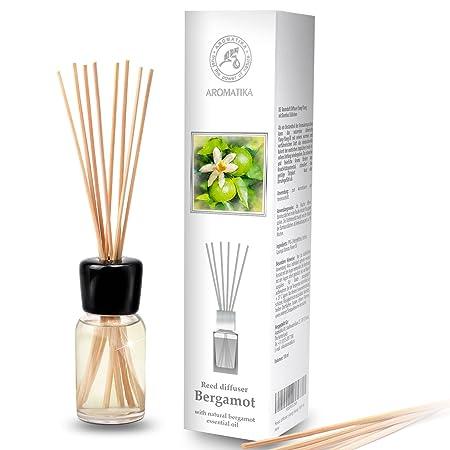 Raumduft Diffusor Bergamotte 100ml - mit Naturreinem Ätherischen Bergamotte Öl & mit Rattanstäbchen - Set zum Aromatisieren f