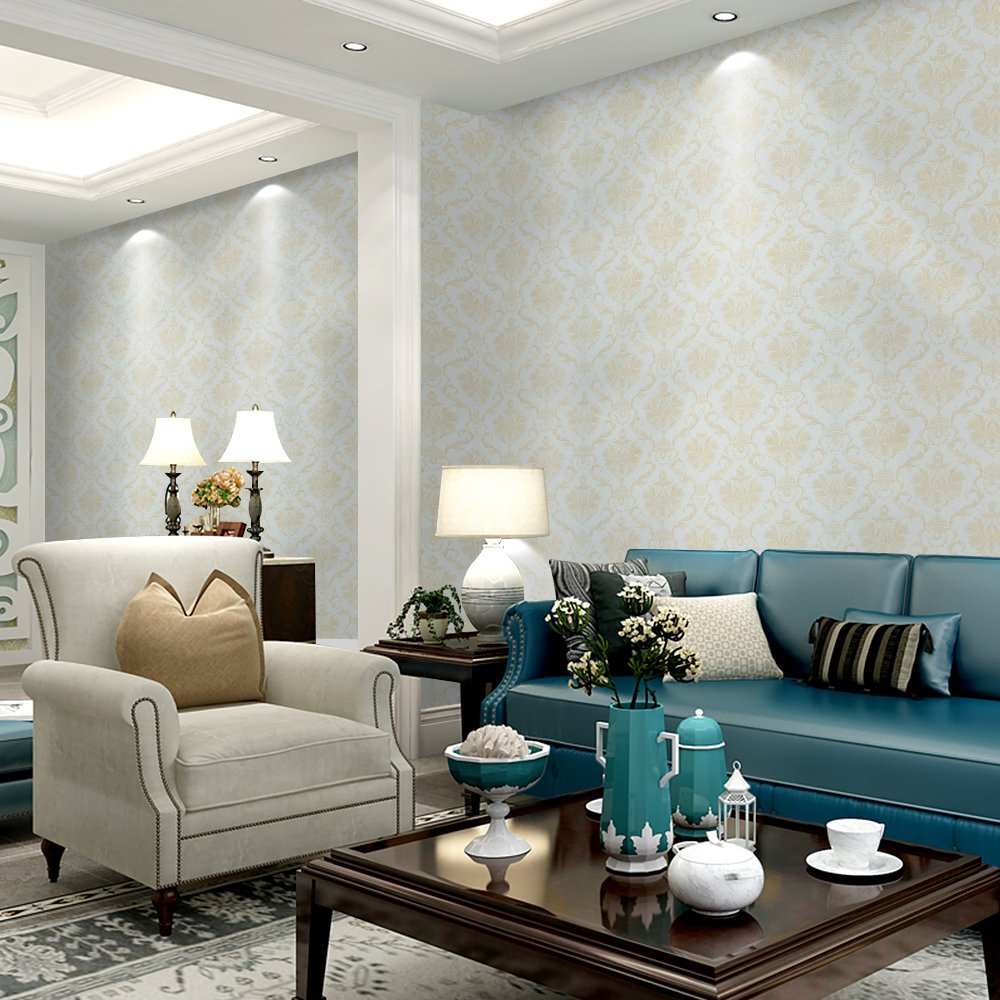Wopeite Damask European Vintage Luxury Wallpaper Gold Embossed Textured Paper Non-Woven Home Decor for Living Room Bedroom TV Backdrop light Blue by Wopeite (Image #2)
