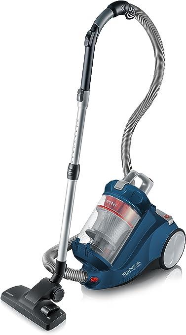 Severin MY 7118, Aspiradora multiciclónica de suelo sin bolsa, control de potencia variable, incluye cabezales para tapicería, parquet y cepillo turbo, S´SPECIAL carPET & carpets non stop, azul y rojo: Amazon.es: Hogar