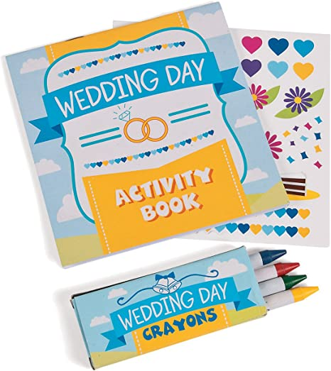 Amazon.com: Wedding Day Kids Activity Books With Stickers And Crayons (1  Dozen) Kids' Table Activities, Wedding Favors: Kitchen & Dining