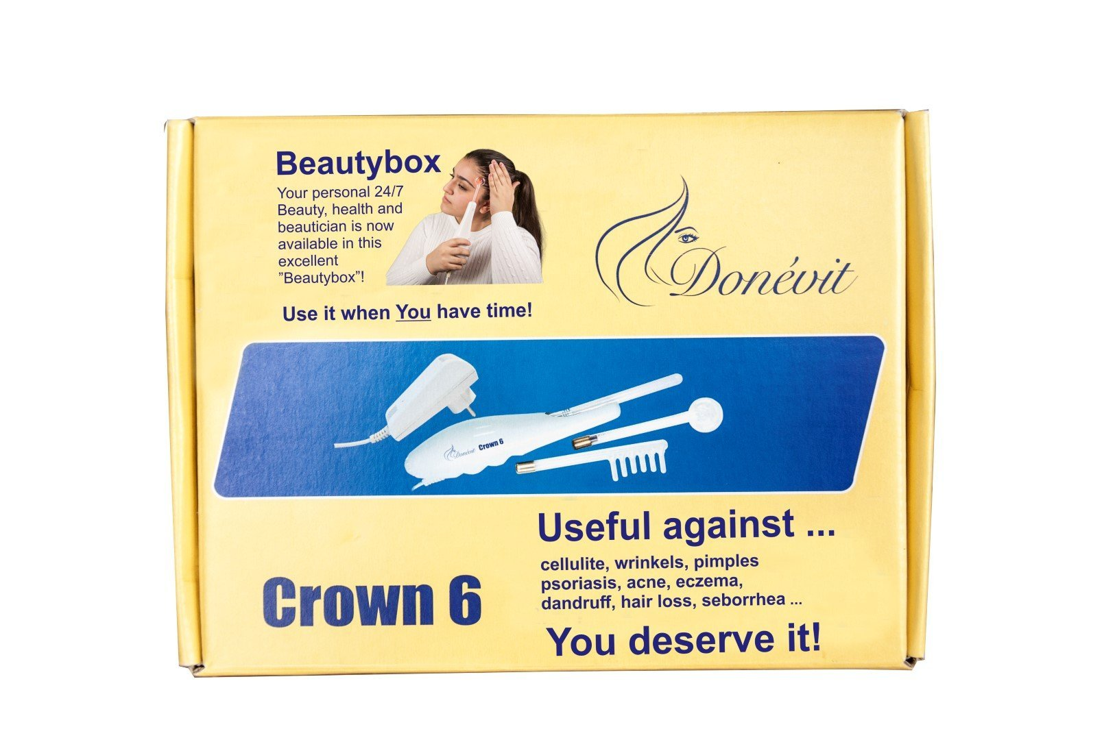 "Donévit Crown 6 High Frequency ""anti-aging"" d'Arsonval device is used to reduce wrinkles, vitalizes and strengthens hair, reduces acne occurrence and improves facial elasticity contours."