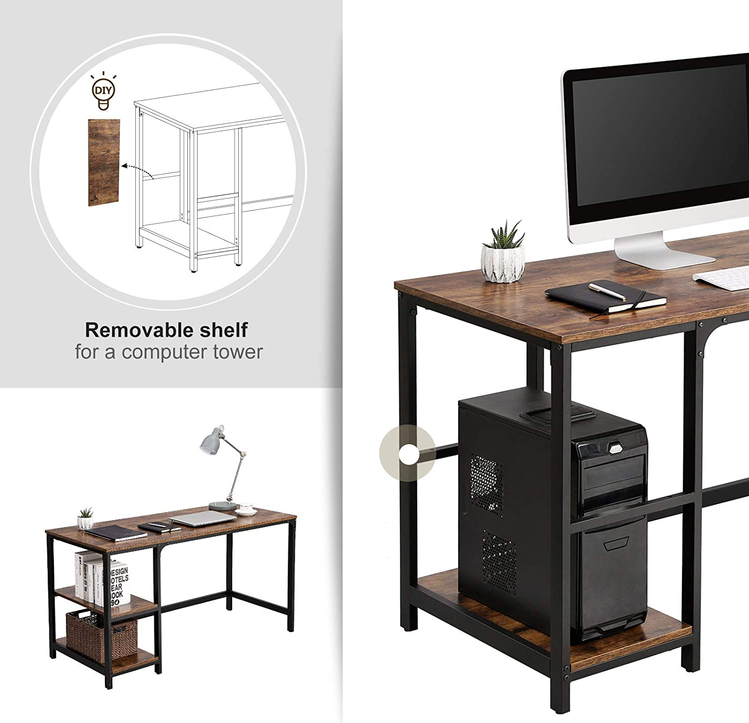 VASAGLE Computer Desk, 55-Inch Writing Desk, with 2 Shelves on Left or Right, Stable Steel Frame, Easy Assembly, Rustic Brown and Black ULWD55X: Home & Kitchen