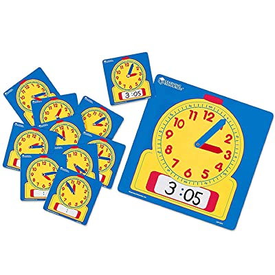 Learning Resources Write & Wipe Clocks Classroom Set, Laminated Dry-Erase, Teaching Aids, Set of 25, Ages 6+: Toys & Games