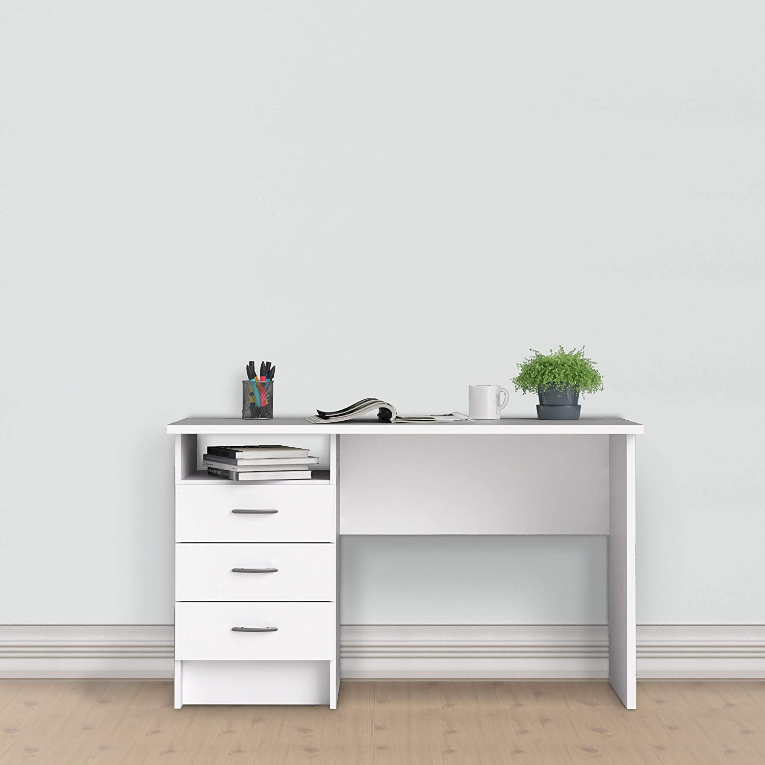 Function Plus TVILUM White Finished Office Desk//Study Table with 3 Drawer Storage
