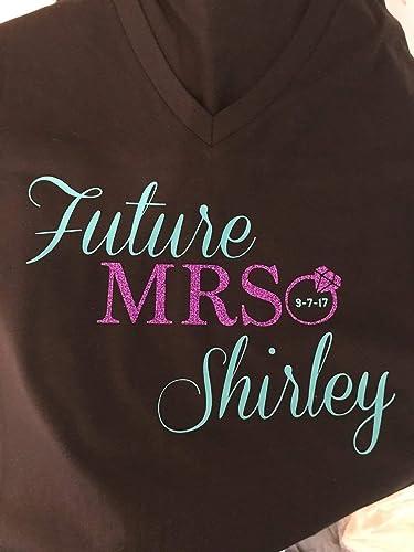 3104e5f4a Amazon.com: Personalized Wedding Last Name V-Neck Future Mrs. and ...