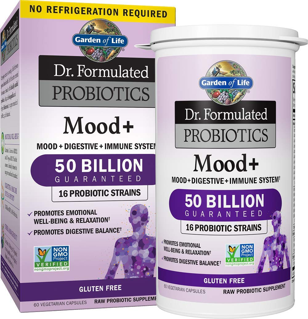 Garden of Life Dr. Formulated Probiotics Mood+ - Acidophilus Probiotic Supplement - Promotes Emotional Health, Relaxation, Digestive Balance - Non-GMO, NSF Gluten Free - 60 Vegetarian Capsules by Garden of Life