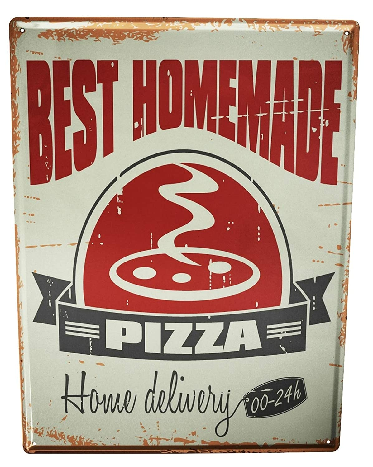 Tin Sign XXL metal plate plaque Food Restaurant Home made pizza Leotie