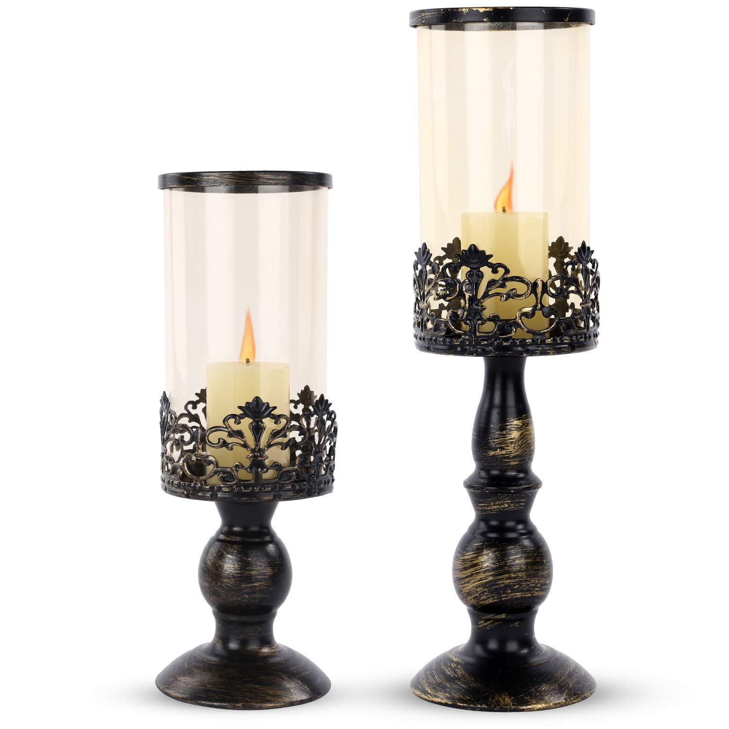 SMEL 2pcs Creative European Candle Holders Candlelight Dinner Wedding Romantic Candlesticks Different Size Household Furnishing Articles Iron Glass for Home Decor.(12'59,14'96)