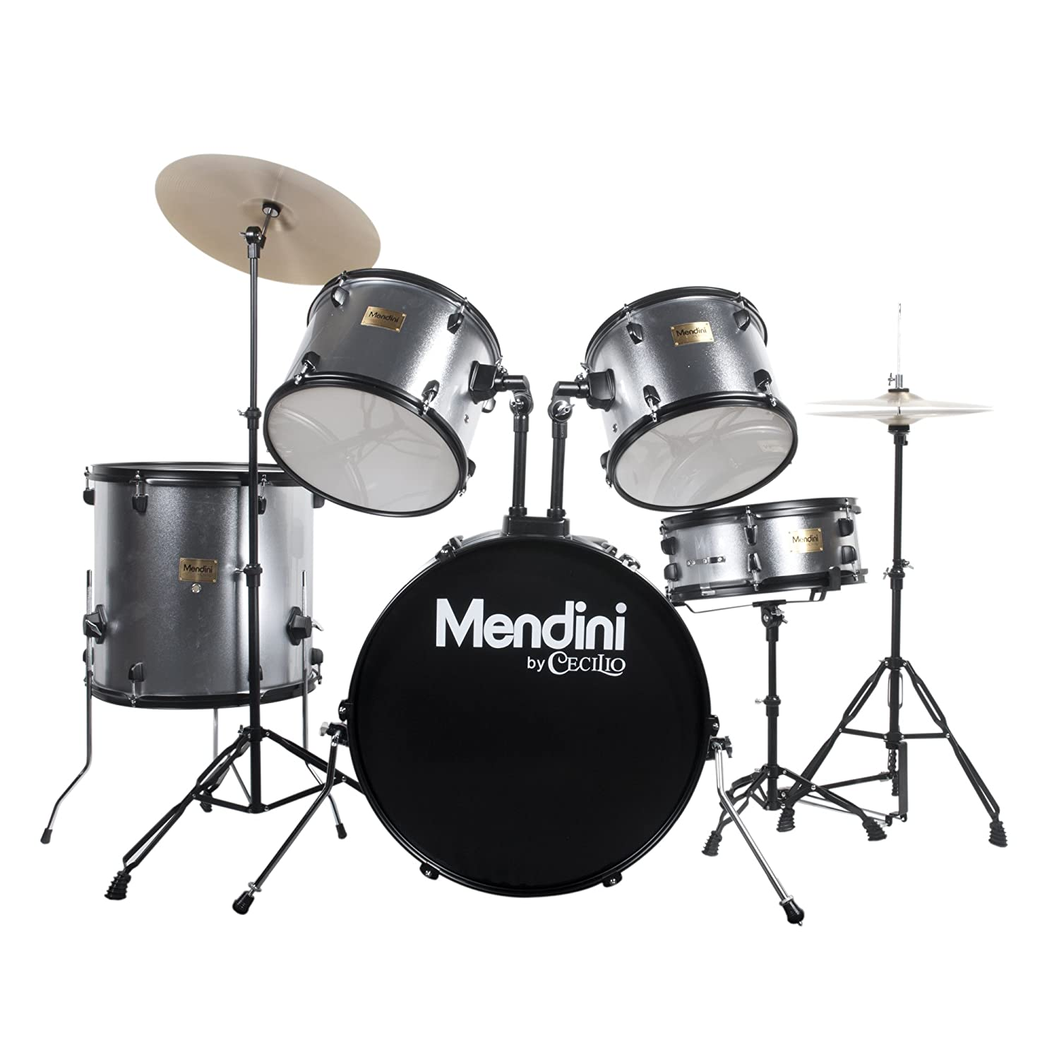Mendini by Cecilio Complete Full Size 5-Piece Adult Drum Set with Cymbals, Pedal, Throne, and Drumsticks, Metallic Bright Red, MDS80-BR Cecilio Musical Instruments