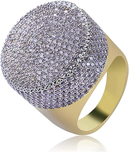 Circle of Ice Hip Hop Bling Micropave Mens Ring Silver Plated