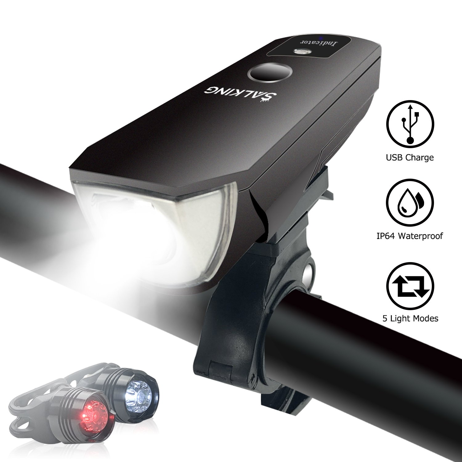 Bike Light,USB Rechargeable Bike Lights Set,Mountain Front and Rear Light,LED Headlight Taillight Combinations,5 Light Modes,Waterproof Smart Sensors Super Powerful Lamp for Road Cycling Flashlight