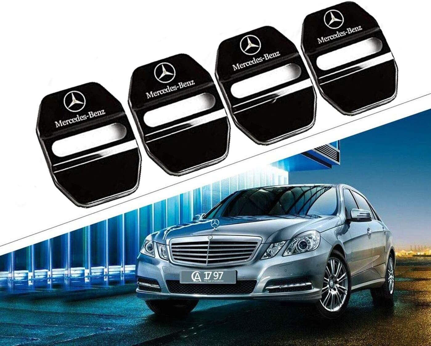 Set of 4 Stainless Steel Car Door Lock Latches Cover Protector,Car Door Lock Buckle Decorative Cover for Mercedes GLK-Class,S-Class Maybach,A//C//CLA//GLA//G//M//S//SL-Class AMG,3M Adhesive Backing Silver