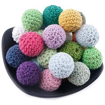 「BPAフリー」 20MM/50個 はがため かぎ針編みのビーズ 26色 アクセサリー 木製 歯固め 歯がため 「FDA認可済」 知育玩具 誕生日プレゼント 出産祝い 赤ちゃん Mamimami Home
