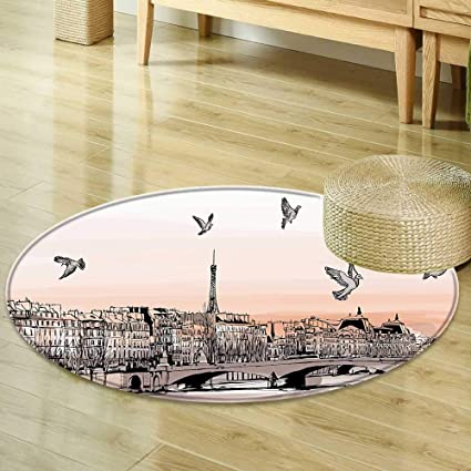 Mikihome Dining Room Home Bedroom Carpet Apartment Decor Panorama Sketch Art Sunset View Of Paris From