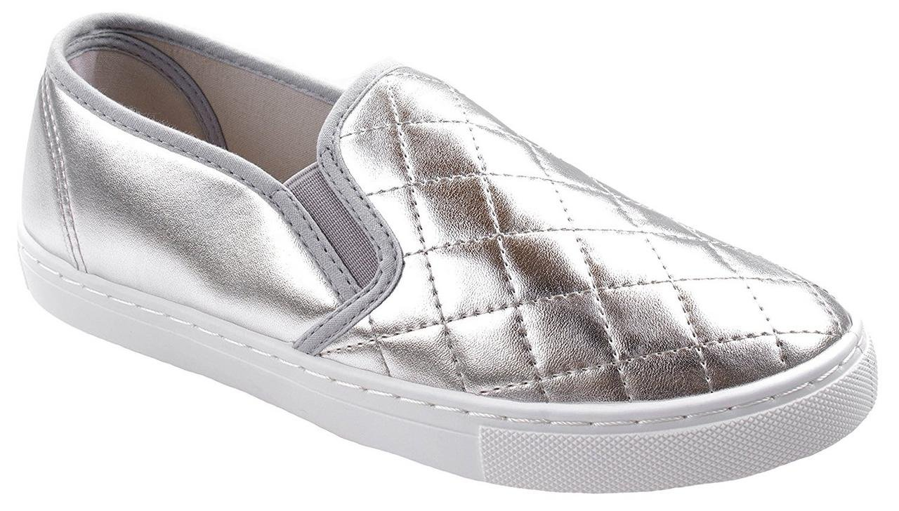 Anna Women's Slick Ligh Weight Comfort Slip On Quilted Fashion Sneakers Silver 8.5 B(M) US