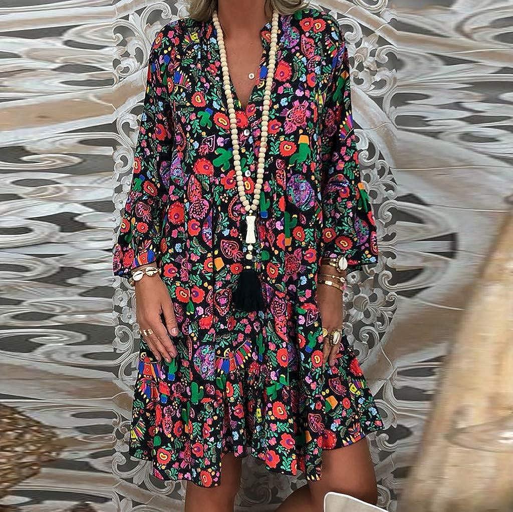 Jaysis Robe Femme Droite Courte Grande Taille T/ête De Mort Imprime Halloween Robe Tee Shirt Femme Chic Pas Cher Robe d/Ét/é Femme Robe Tunique Chemiser Mode Ample Mini Dress Manche Courtes Casual
