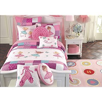 Cozy Line Home Fashions Ballerina Dance Princess Bedding Quilt Set, Pink Orchid Light Purple 100% Cotton Bedspread for Kids Girl (Pink Embroidered, Queen - 8 Piece): Home & Kitchen