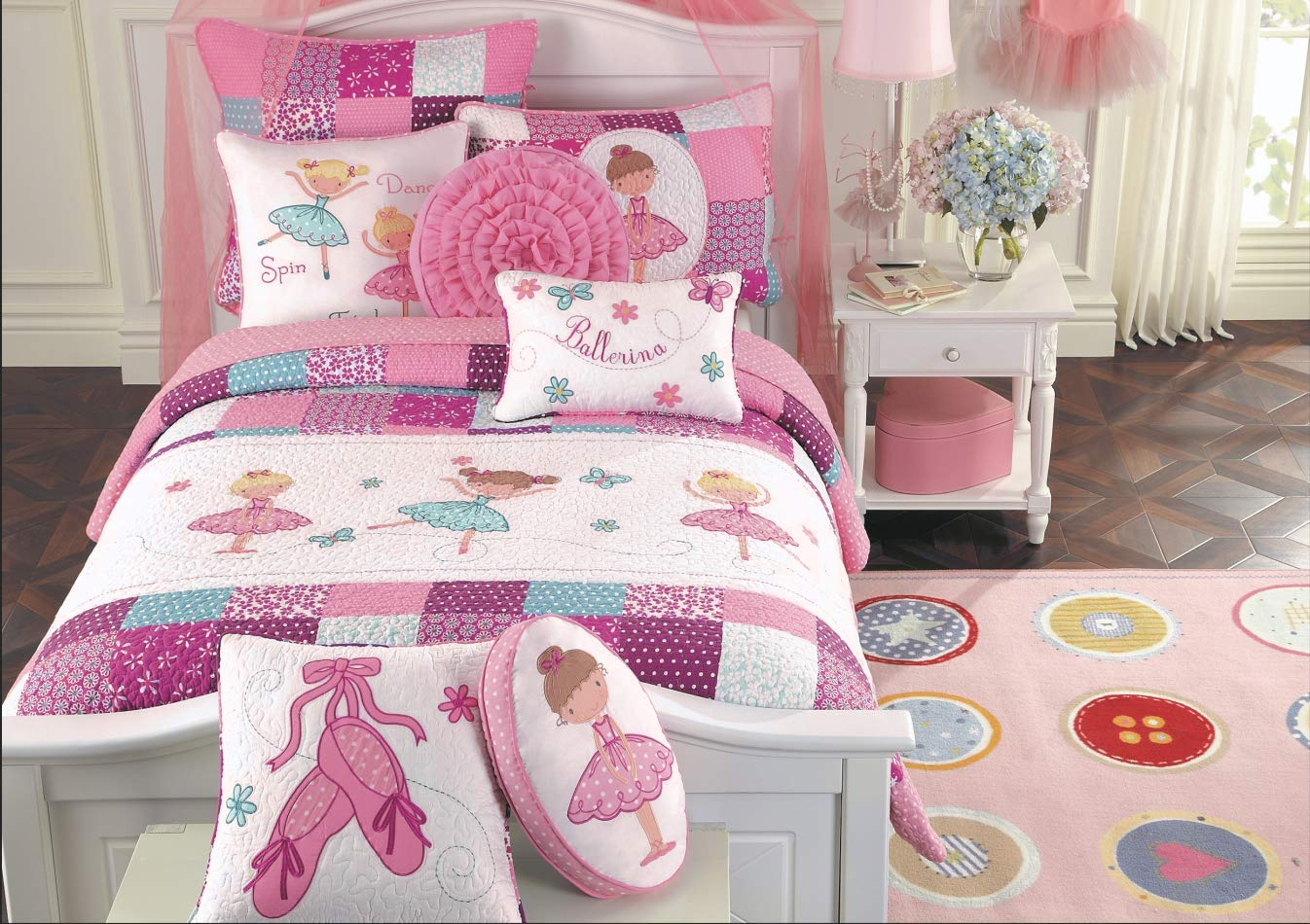Cozy Line Home Fashions Ballerina Dance Princess Bedding Quilt Set, Pink Orchid Light Purple 100% Cotton Bedspread for Kids Girl (Pink Embroidered, Twin - 7 Piece)