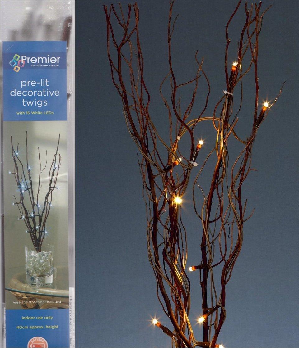 Premier Decorations Pre-lit Decorative Twigs with 16 White LEDs:  Amazon.co.uk: Lighting