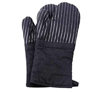 Oven Mitts Heat Resistance of Silicone and Flexibility of Cotton, Terrycloth Lining Kitchen Gloves, 480 F Heat Resistant Pair Black 1 Pair