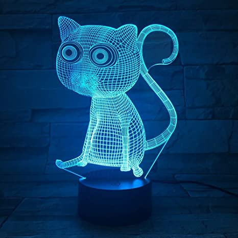 Shuii 3d Night Light 3d Abstract Big Eyes Cat Night Lights