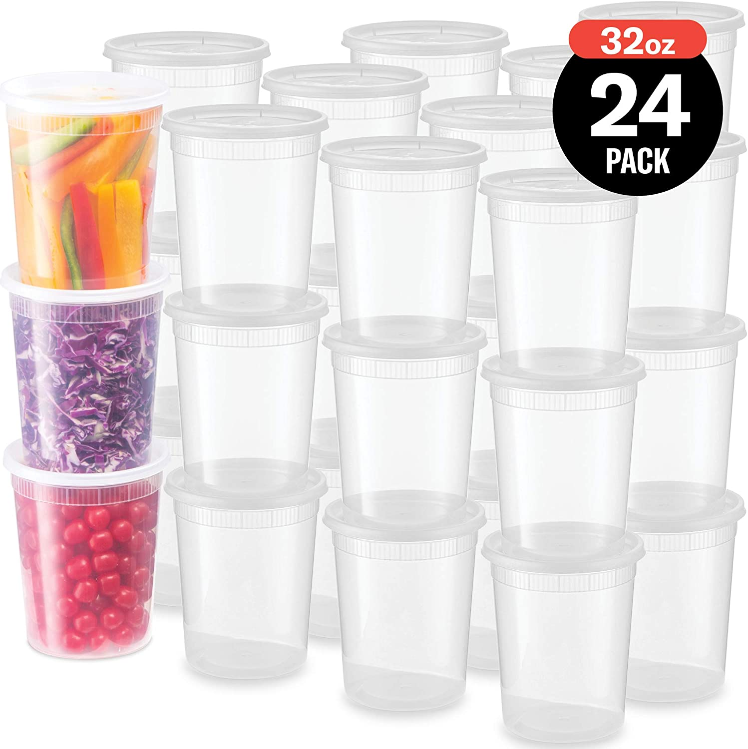 Plastic Deli Food Storage Containers With Leak-Proof Lids 24 Pack, 32 Oz | Microwaveable Airtight Container For Soups, Snacks, Meal Prep, Salad, Ice Cream | BPA-Free Kitchen & Restaurant Supplies…