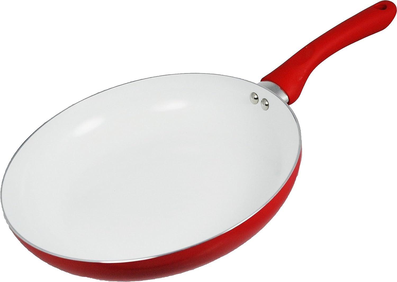 CookSpace® rojo sartén de inducción, 28 cm de diámetro, con revestimiento antiadherente de cerámica color blanco suave (100% PTFE y PFOA libre) saludable ...