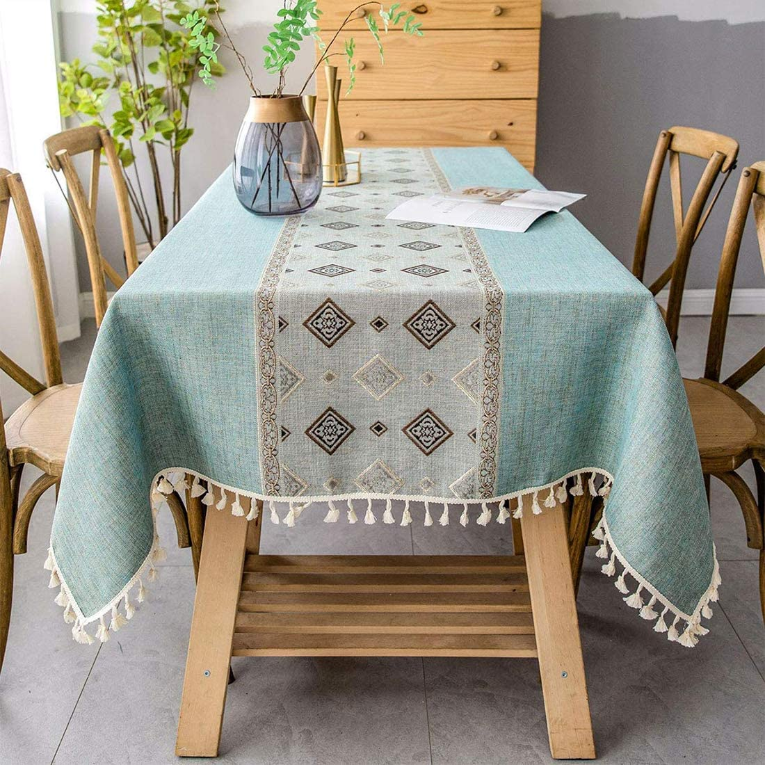 smiry Embroidery Tassel Tablecloth - Cotton Linen Dust-Proof Table Cover for Kitchen Dining Room Party Home Tabletop Decoration (Rectangle/Oblong, 55 x 120 Inch, Light Green)