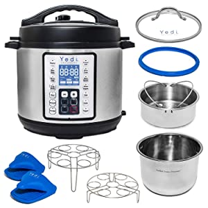 Total Package 8 Qt 9-in-1 Instant Multi-Use Programmable Pressure Cooker, Deluxe Accessory Kit & Recipes. Pressure Cook, Slow Cook, Sauté, Egg, Rice Cooker, Yogurt, Steamer, Hot Pot by Yedi Houseware