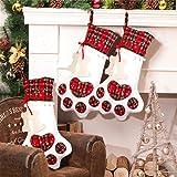 Aparty4u Calze di Natale per cani con zampa, plaid appeso calza per cani per decorazioni natalizie, 45 x 28cm