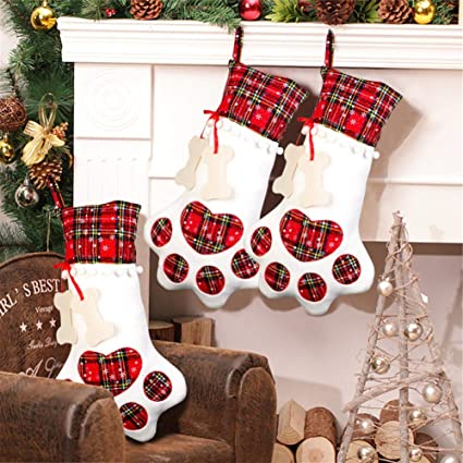 23f472e73e8ec Amazon.com  Aparty4u Pet Dog Christmas Stockings Paw