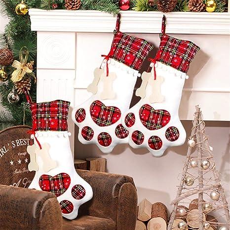 Aparty4u - Calcetines Grandes para Mascotas, diseño de Perro con Hueso de Navidad, para