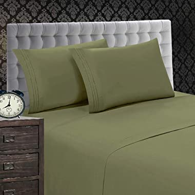 Elegant Comfort 1500 Thread Count Luxury Egyptian Quality Wrinkle and Fade Resistant 4-Piece Sheet Set, Queen, Green