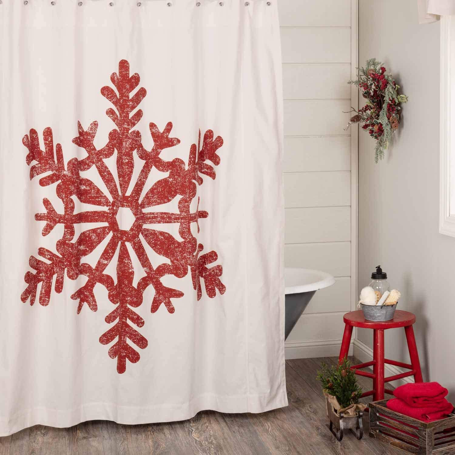 Red Snowflake Christmas Shower Curtain, 72