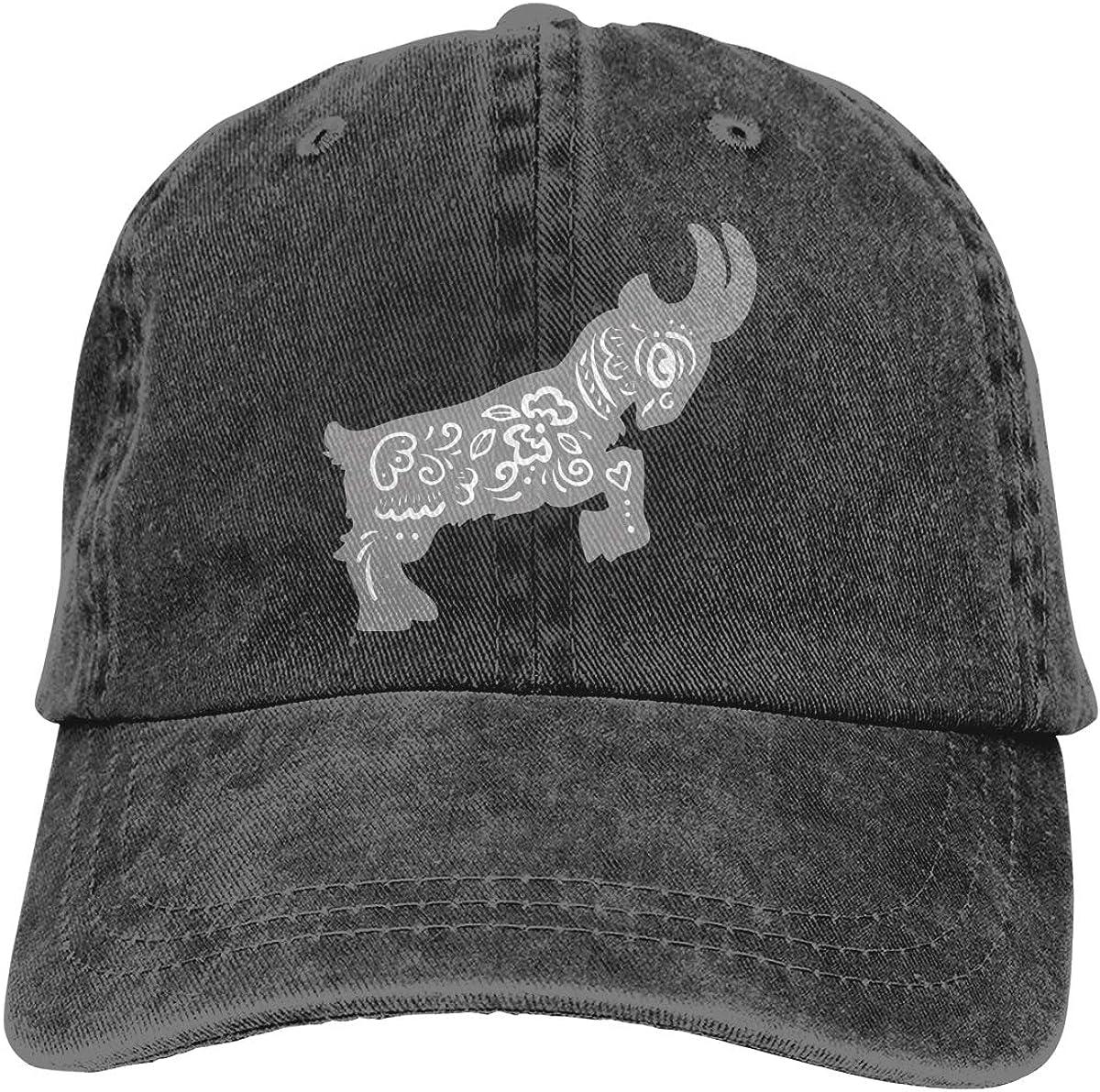 Chinese Zodiac Goat Unisex Adult Denim Hats Cowboy Hat Dad Hat Driver Cap
