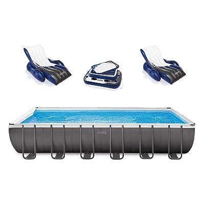 Intex Rectangular Ultra Frame Pool Set, 24-Feet by 12-Feet by 52-Inch