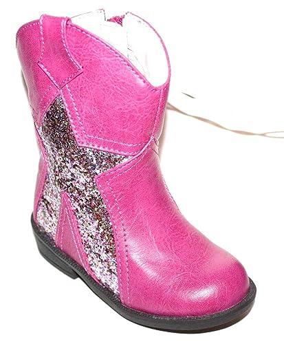 cfba5b9fd9d0 Faded Glory Girls Infant Toddler Preschool Pink Western Cowgirl Boots w/Glitter  Star (2