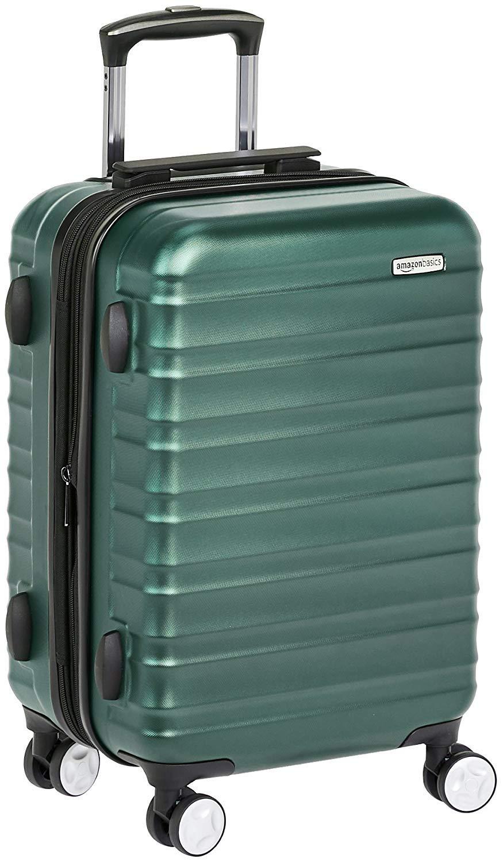 AmazonBasics - Maleta de mano rígida de alta calidad, con ruedas y cerradura TSA incorporada, 55 cm, Verde
