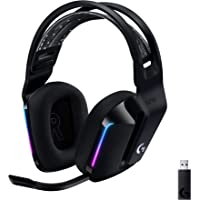 Logitech G733 Lightspeed Wireless Gaming Headset with Suspension Headband, Lightsync RGB, Blue VO!CE mic technology and…