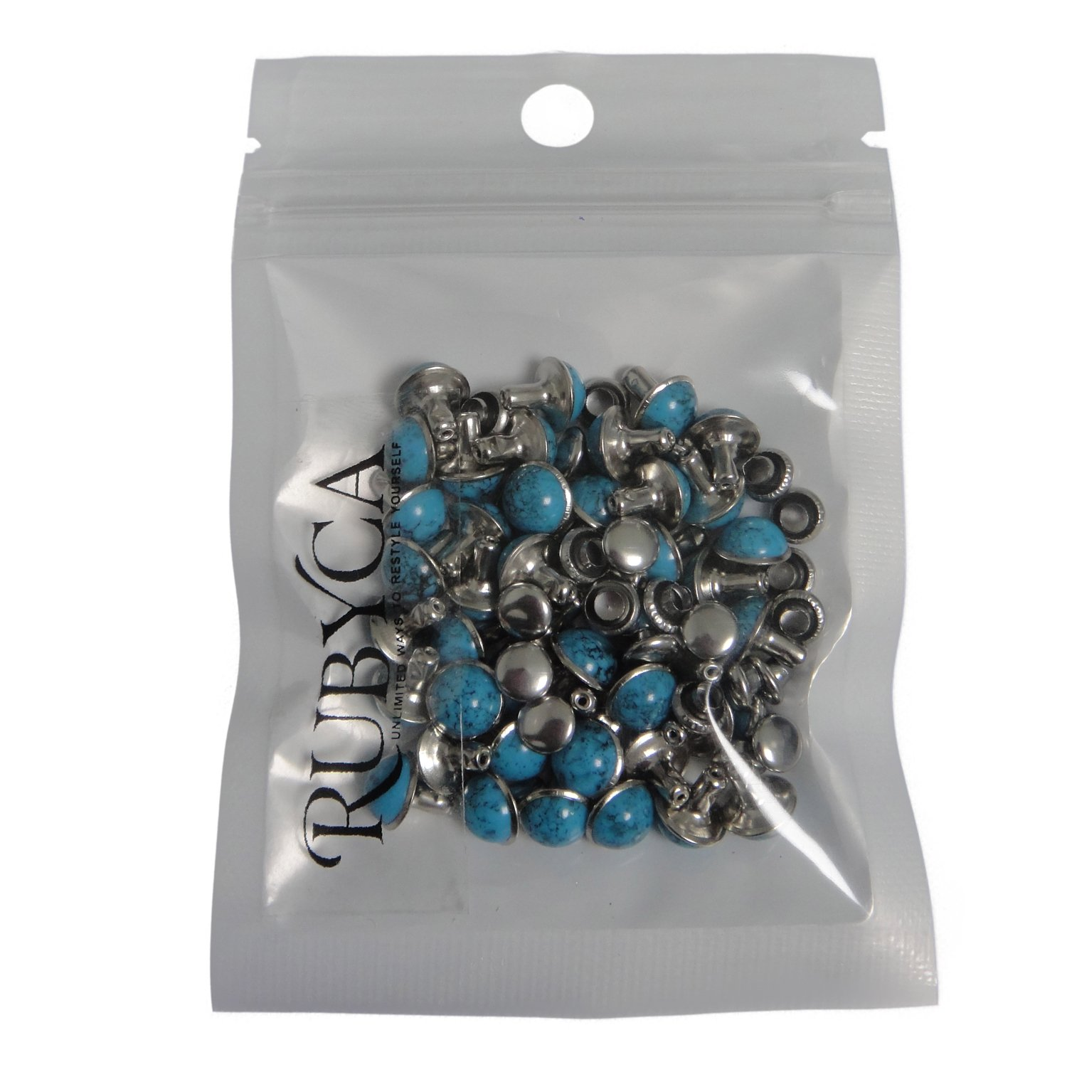 RUBYCA Blue Turquoise Rapid Rivets Studs DIY Leather-Craft for Bag Shoes Bracelet Tandy Leather 10MM 100pcs