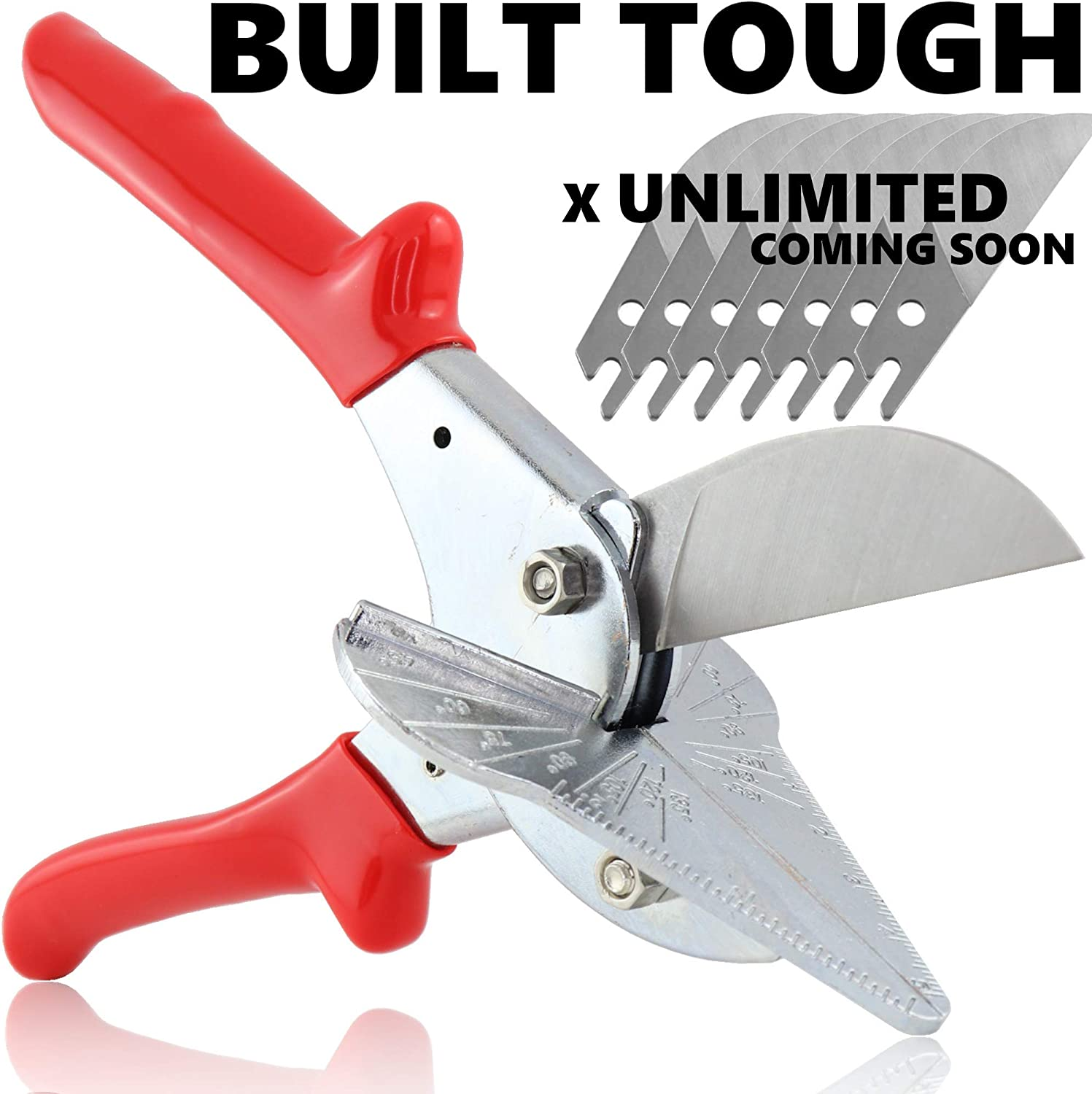 Multi Angle Miter Cutter|Hand Shear Multipurpose Tool|Cuts 45 to 135 Degrees|Stainless Steel with Rubber Handle /& Safety Lock
