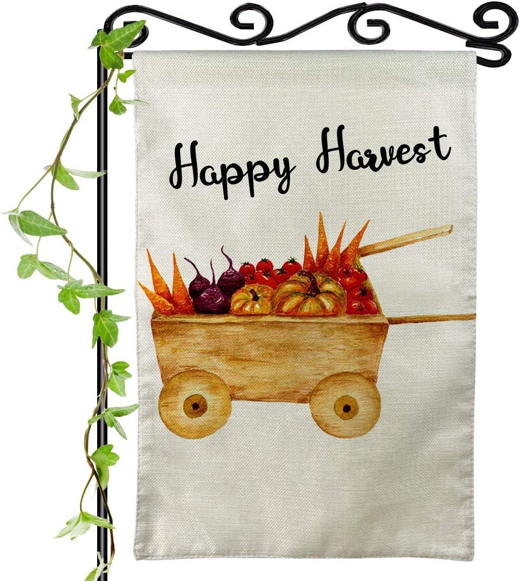Happy Harvest Garden Flag Vertival Double Sided Autumn Cute Cart Tomato Crop Food Decorations Fall Rustic Farmhouse Burlap Outdoor Small Yard Flag 12x18