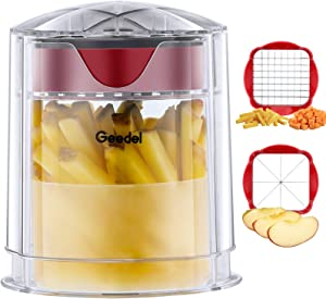 Geedel French Fry Cutter Apple Cutter, Easy to Clean Potato Cutter, Ultra Blades Dishwasher Safe Fry Cutter Apple Slicer Corer