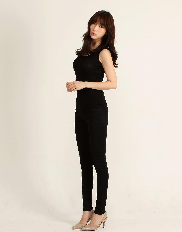 2NEFIT Women Casual Skinny Stretchy Minimal Black Pants