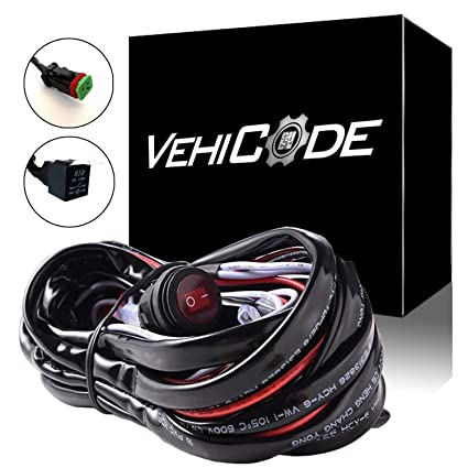 VehiCode High Power 300W 40Amp 1 Lead DT Connector Light Bar Wiring Harness  Toggle Switch Relay Kit for Jeep Dodge Chevy Ford Truck ATV Off-Road LED
