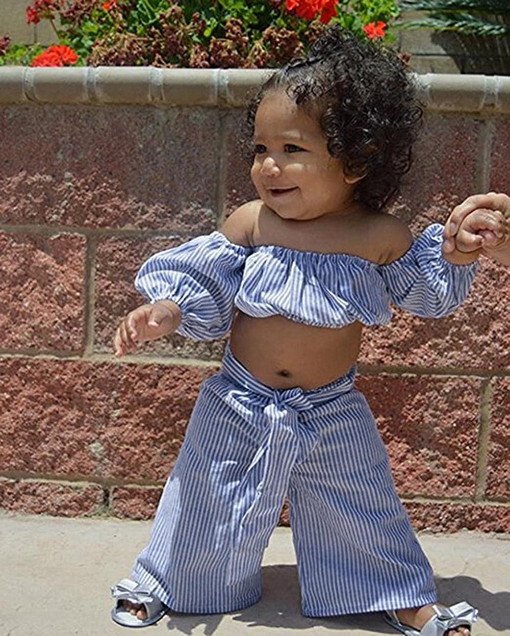 Tanhangguan 2Pcs Baby Girl Clothes Off Shoulder Striped Crop Tube Top and Pants Summer Clothes Outfits Sunsuit